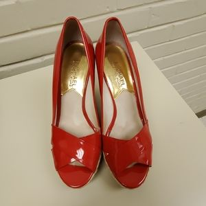 Michael Kors Red Cassandra Patent Leather Wedges